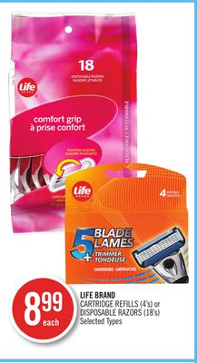 Life Brand Cartridge Refills (4's) or Disposable Razors (18's)
