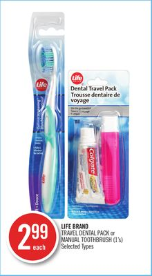 Life Brand Travel Dental Pack or Manual Toothbrush