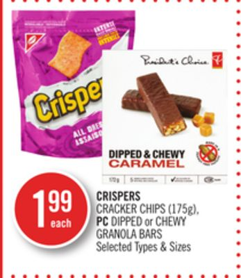 Crispers Cracker Chips (175g) - PC Dipped or Chewy Granola Bars