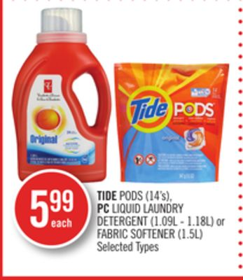 Tide PODS (14's) - PC Liquid Laundry Detergent (1.09l - 1.18l) or Fabric Softener (1.5l)