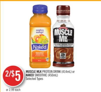 Muscle Mlk Protein Drink (414ml) or Naked Smoothie (450ml)