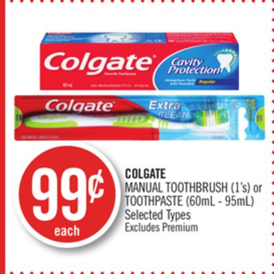 Colgate Manual Toothbrush (1's) or Toothpaste (60ml - 95ml)