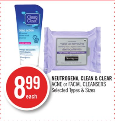 Neutrogena - Clean & Clear Acne or Facial Cleansers