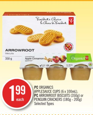 PC Organics Applesauce Cups (6 X 100ml) - PC Arrowroot Biscuits (350g) or Penguin Crackers (180g - 200g)