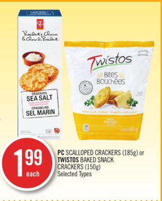 PC Scalloped Crackers (185g) or Twistos Baked Snack Crackers (150g)