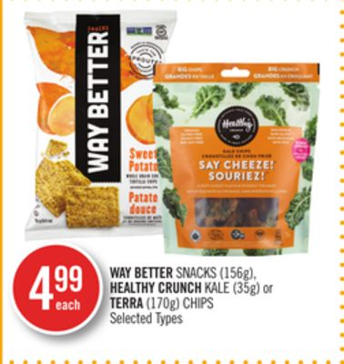 Way Better Snacks (156g) - Healthy Crunch Kale (35g) or Terra (170g) Chips