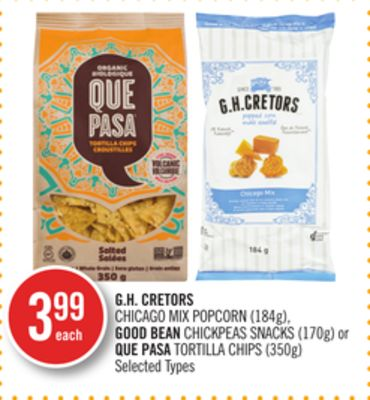 Gh. Cretors Chicago Mix Popcorn (184g) - Good Bean Chickpeas Snacks (170g) or Que Pasa Tortilla Chips (350g)