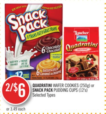 Quadratini Wafer Cookies (250g) or Snack Pack Pudding Cups (12's)