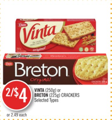 Vinta (250g) or Breton (225g) Crackers