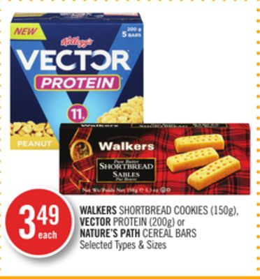Walkers Shortbread Cookies (150g) - Vector Protein (200g) or Nature's Path Cereal Bars