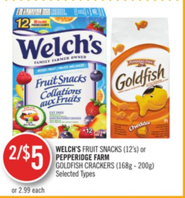 Welch's Fruit Snacks (12's) or Pepperidge Farm Goldfish Crackers (168g - 200g)