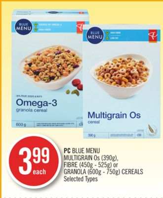 PC Blue Menu Multigrain Os (390g) - Fibre (450g - 525g) or Granola (600g - 750g) Cereals