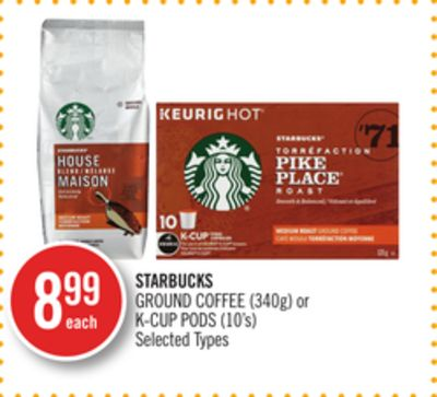 Starbucks Ground Coffee (340g) or K-cup PODS (10's)