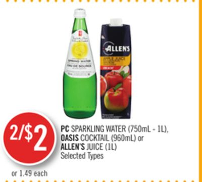 PC Sparkling Water (750ml - 1l) - Oasis Cocktail (960ml) or Allen's Juice (1l)