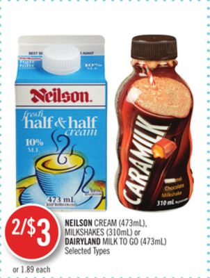 Neilson Cream (473ml) - Milkshakes (310ml) or Dairyland Milk To Go (473ml)