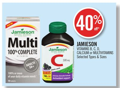 Jamieson Vitamins B - C - D - Calcium or Multivitamins