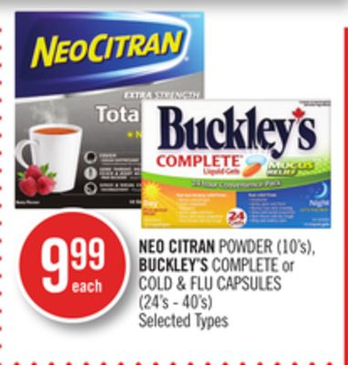 Neo Citran Powder (10's) - Buckley's Complete or Cold & Flu Capsules (24's - 40's)