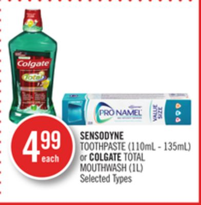 Sensodyne Toothpaste (110ml - 135ml) or Colgate Total Mouthwash (1l)