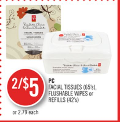 PC Facial Tissues (65's) - Flushable Wipes or Refills (42's)