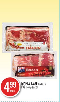 Maple Leaf (375g) or PC (500g) Bacon