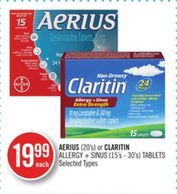 Aerius (20's) or Claritin Allergy + Sinus (15's - 30's) Tablets