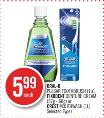 Oral-b Pulsar Toothbrush (1's) - Fixodent Denture Cream (57g - 68g) or Crest Mouthwash (1l)