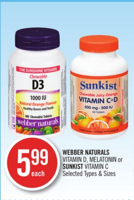 Webber Naturals Vitamin D - Melatonin or Sunkist Vitamin C