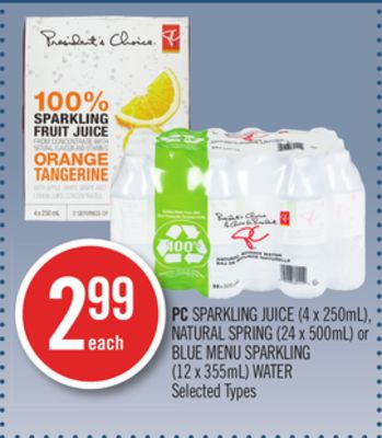 PC Sparkling Juice (4 X 250ml) - Natural Spring (24 X 500ml) or Blue Menu Sparkling (12 X 355ml) Water