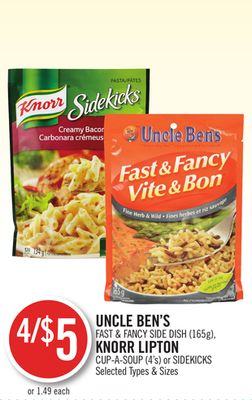 Uncle Ben's Fast & Fancy Side Dish (165g) - Knorr Lipton Cup-a-soup (4's) or Sidekicks