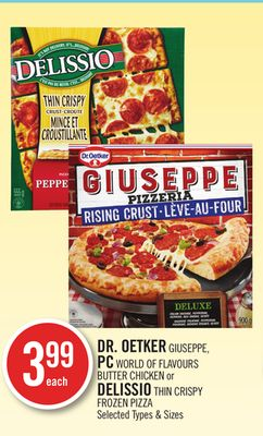 Dr. Oetker Giuseppe - PC World Of Flavours Butter Chicken or Delissio Thin Crispy Frozen Pizza