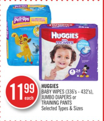 Huggies Baby Wipes (336's - 432's) - Jumbo Diapers or Training Pants