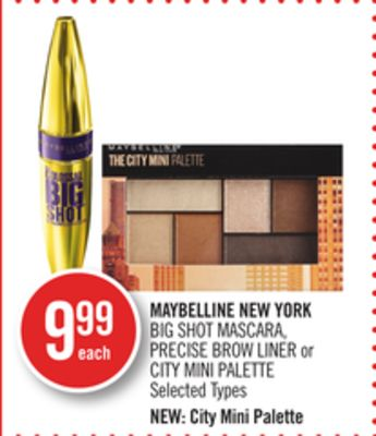Maybelline New York Big Shot Mascara - Precise Brow Liner or City Mini Palette