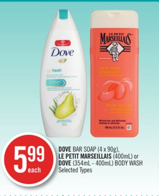 Dove Bar Soap (4 X 90g) - Le Petit Marseillais (400ml) or Dove (354ml - 400ml) Body Wash