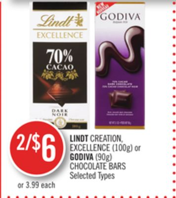 Lindt Creation - Excellence (100g) or Godiva (90g) Chocolate Bars