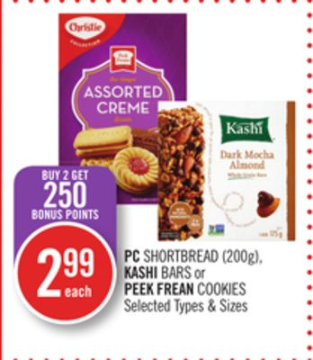 PC Shortbread (200g) - Kashi Bars or Peek Frean Cookies