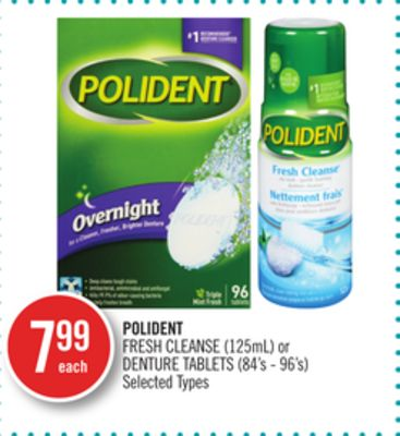 Polident Fresh Cleanse (125ml) or Denture Tablets (84's - 96's)