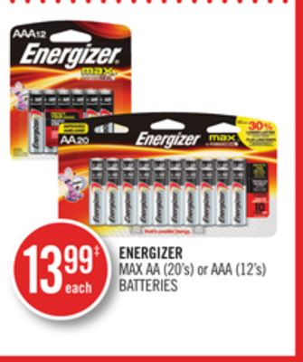 Energizer Max Aa (20's) or Aaa (12's) Batteries