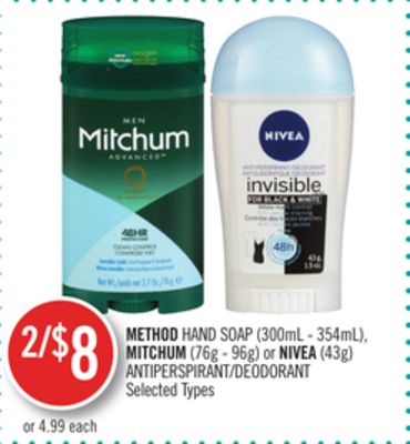 Method Hand Soap (300ml - 354ml) - Mitchum (76g - 96g) or Nivea (43g) Antiperspirant/deodorant