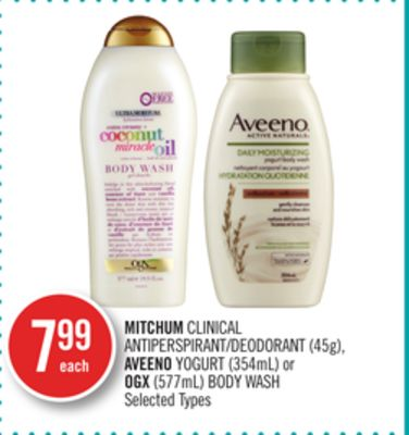Mitchum Clinical Antiperspirant/deodorant (45g) - Aveeno Yogurt (354ml) or Ogx (577ml) Body Wash