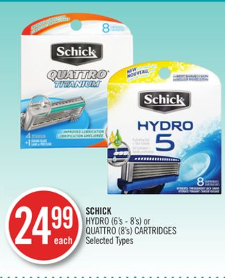 Schick Hydro (6's - 8's) or Quattro (8's) Cartridges