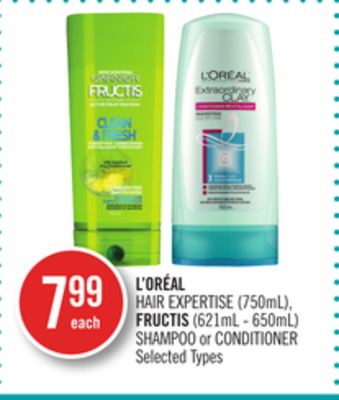L'oréal Hair Expertise (750ml) - Fructis (621ml - 650ml) Shampoo or Conditioner