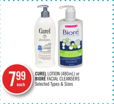 Curel Lotion (480ml) or Bioré Facial Cleansers