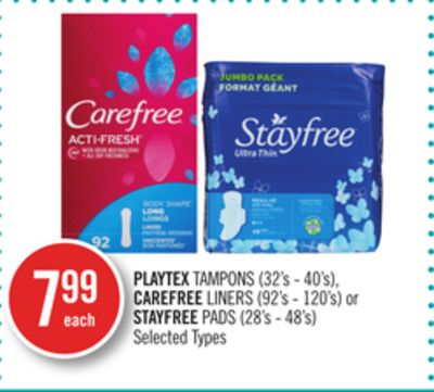 Playtex Tampons (32's - 40's) - Carefree Liners (92's - 120's) or Stayfree Pads (28's - 48's)