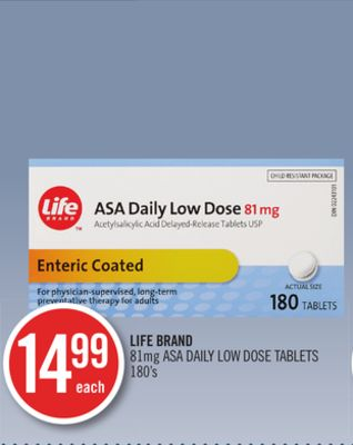 Life Brand 81mg Asa Daily Low Dose Tablets