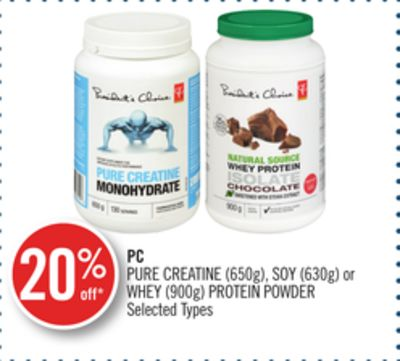 PC Pure Creatine (650g) - Soy (630g) or Whey (900g) Protein Powder