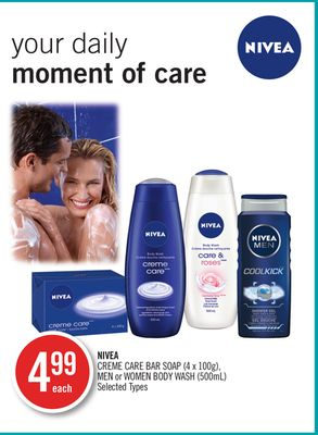 Nivea Creme Care Bar Soap (4 X 100g) - Men or Women Body Wash (500ml)
