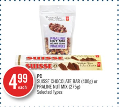PC Suisse Chocolate Bar (400g) or Praline Nut Mix (275g)