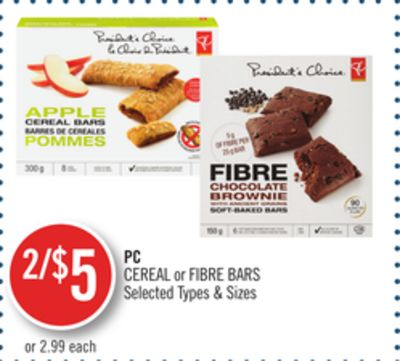 PC Cereal or Fibre Bars