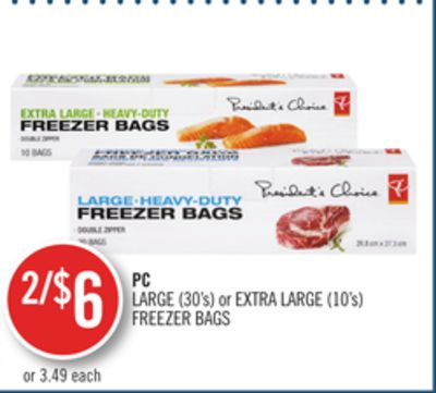 PC Large (30's) or Extra Large (10's) Freezer Bags