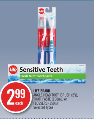 Life Brand Angle Head Toothbrush (2's) - Toothpaste (100ml) or Flossers (150's)